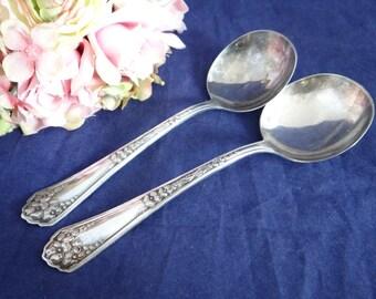 Antique Vintage 1912 Wm Rogers Primrose Serving Spoons - Lovely Set of 2