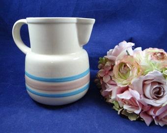 Vintage 1970s McCoy Pottery Pink and Blue Pitcher 132 USA - Lovely