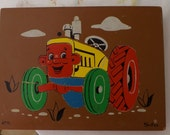 Vintage 1970s Sifo Wooden Puzzle - Tractor Guy  8 Pieces