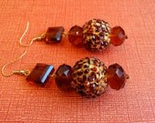 Brown and Gold Animal Print Earrings