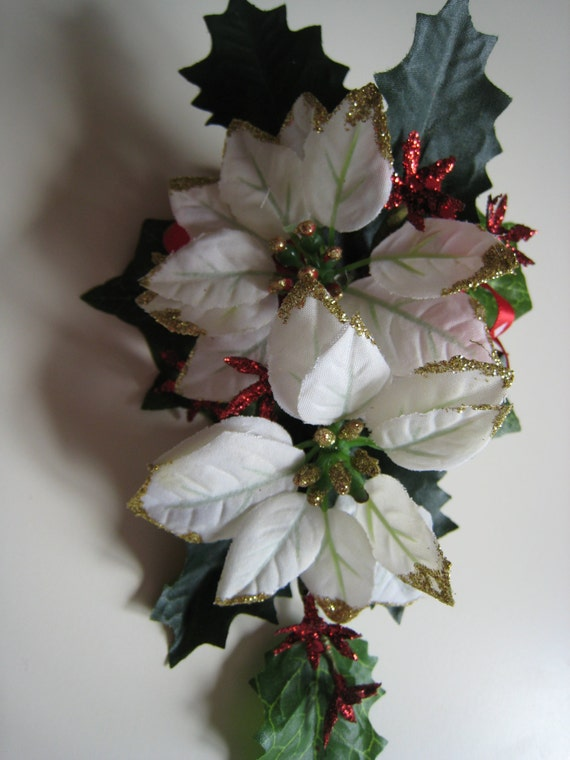 White christmas poinsettia flower corsage wedding