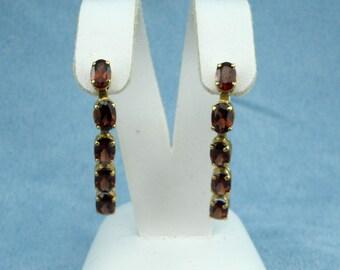 Beautiful 6.00cttw Garnet Dangle Earrings - 14K Yellow Gold, SKU E-1134