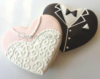 Wedding Cookies Bride and Groom Heart Cookies - 1 Dozen