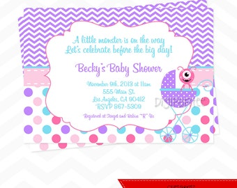 Girls Monster Baby Shower Invitation