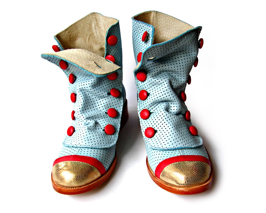 Blue, Red, & Gold Boots - Quiero June Shoes