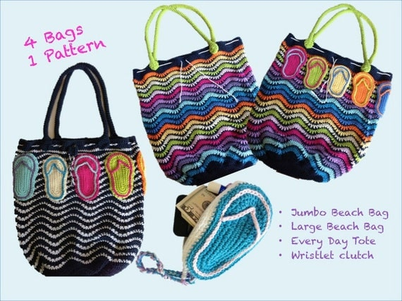 Crochet Pattern, Tote Beach Bag Wristlet, 4 Bags in 1 PDF 12-111 ...