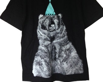 Limited Edition White on Black  Bear Screen Print Tee