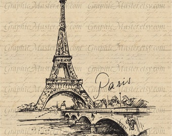 Eiffel Tower Paris French Traveling Graphics Digital Image Download Iron on Transfer Clip Art pillows fabric bags tea towels PNG JPG Sepia