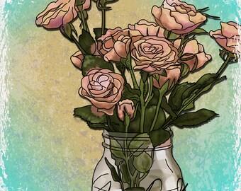 Jar of Roses Digital Download-  Illustration by Tammy Sherman