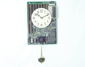 Motherboard Wall Clock with Pendulum, Geekery, Clocks by DanO