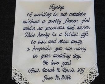 Flower Girl embroidered wedding handkerchief FG3
