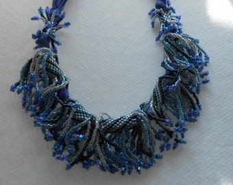 Gentle Rain, OOAK Beadwoven and Fiber  Necklace