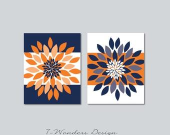 "Floral Bursts Bold Stripes Wall Art Prints Set of (2) - 5"" x 7"", 8"" x 10"" OR 11"" x 14"" Fine Art Modern Home Decor, Orange Navy Blue Unframed"