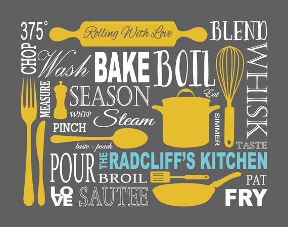 mustard charcoal grey modern kitchen art gift guide 11 x 14