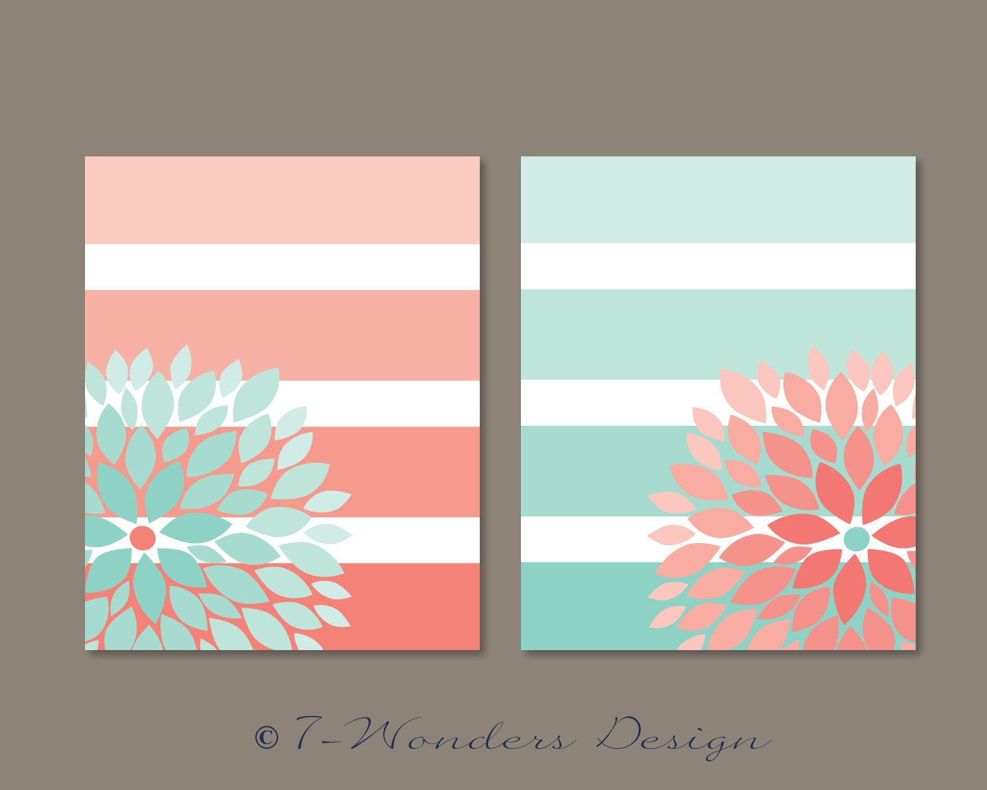 Floral Bursts Big Stripes Art Prints Ombre Style By