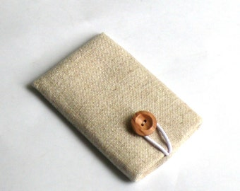 Mobile iPhone Sleeve, iPhone 4 / 4S Cover, Smart Phone Fabric Padded Pouch Cover - PURE LINEN / Handmade