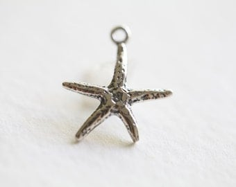 Sterling Silver Starfish Charm - lightly oxidized 925 silver sea life charm