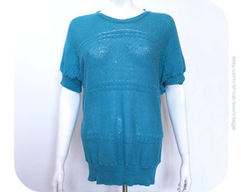 Vintage turquoise sweater, turquoise knitted sweater, turquoise vintage