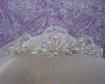 Pearl/Crystal Scalloped Tiara - Choice of Handmade Bow - First Communion