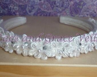 First Holy Communion Headband of Sequins, Pearls & Rhinestones Flowers