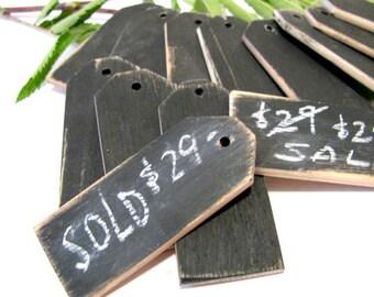 "24 Wood price tags Chalkboard finish Reusable 1 1/4""W x 3""L"