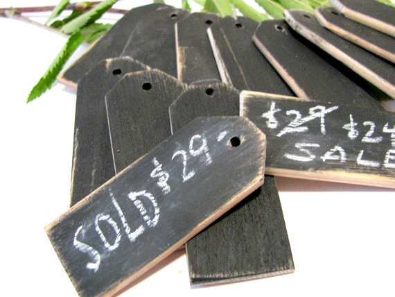"24 Wood price tags Chalkboard finish Reusable 1 1/4""W x 3""L"