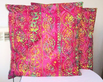 """Beautiful Decorative Pillow Throw  -Throw Pillow - Cushion Cover in a multicolored cotton batik fabric on a Red background.  Size 18"""" x 18"""""""