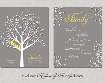 Personalized Family Tree Prints - Parents Anniversary Gift - Housewarming Gift - Grandparents Gift - Birthday Gift - Set of TWO 8X10 PRINTS