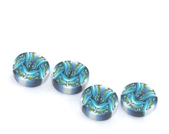 blue, turquoise and white round flat beads, Polymer clay beads, set of 4 unique millefiori beads, blue beads