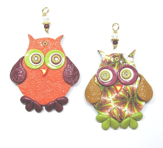 Love owl wall decor, Valentines day gift, Polymer clay elegant owl, wedding gift, a pair in maroon, green, orange, gold and red