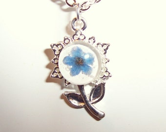Forget-me-not Real Pressed Flower Resin Pendant Necklace
