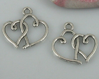 42pcs tibetan silver color linked hearts charms EF0455