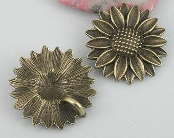 8pcs antiqued bronze color sunflower charms EF0564