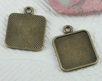 18pcs antiqued bronze color squared cabochon settings EF0695
