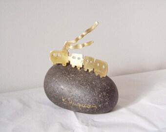 Choo choo train sculpture, brass train art object, lost wax train with double smoke on black pebble, Greek folk art
