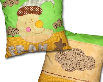 Yellow Moon Kids Personalized Custom Pillow Cushion Cover