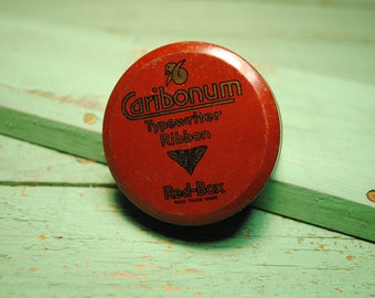 vintage Caribonum Typewriter ribbon tin box LC Smith, made in London, England.... RED, for office, desk, display or classic craftsman home