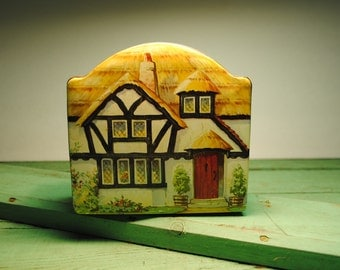 Cottage tin antique ENGLISH Cottage Tuckers tin candy toffee biscuit tin marked MADE in ENGLAND cottage lovely printing on sides and front