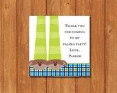 Pancakes & PJ's KI395GT Square Favor Tags, Editable and Printable-PDF Files, Instant Download
