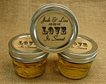 Mason Jar Wedding Favors - Personalized Mason Jar Honey Favors - 20 Four Ounce Quilted Mason Jars - Love is Sweet Design