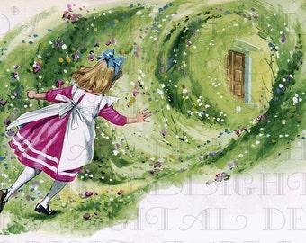 Alice Finds The RABBIT Hole.  Alice in Wonderland Digital Download. Vintage Illustration. ALICE in Wonderland DIGITAL Print