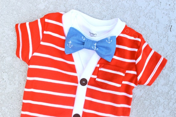 SALE Cardigan and Bow Tie Set - Red with Blue Anchors - Trendy Baby Boy - Perfect for Spring Shower