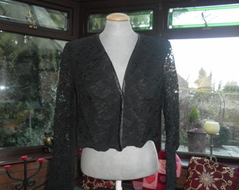 Black all lace short jacket long sleeves size uk12 and usa size8 beautiful classic style well made good quality