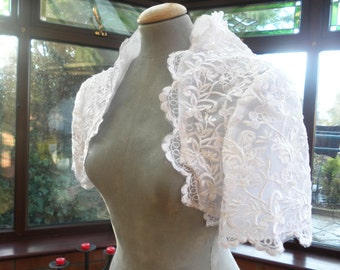 white pearl trimmed lace wedding bolero uk12 usa size8  prom wedding bridesmaide or special occasion