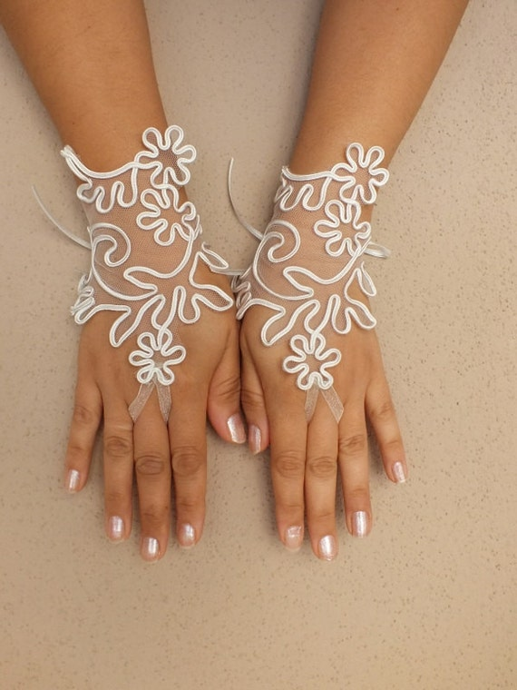 Items similar to goth gothic ivory lace gloves french lace for Lace glove tattoo