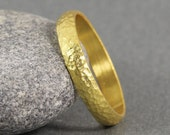 5 mm Handmade Hammered 24K Yellow Gold Over 925K Sterling Silver Half Round Vermeil Wedding Band Ring - FREE Shipping, Sizing & Engraving