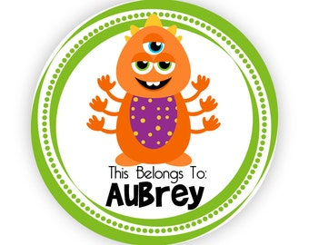 Name Tag Stickers - Silly Green Dots, Orange Purple Monster Personalized Name Label Tag Stickers - 20 Round Tags - Back to School Name Label