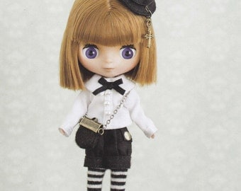 Petite Blythe Mini Pullip Dal doll Goth Lolita Shirt, Shorts, Socks, Hat and Bag Set: pdf Scaled E PATTERN in Japanese and Titles in English