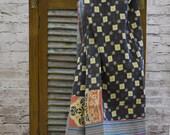 Reversible Vintage kantha sari throw