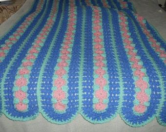 Crocheted Flower Trellis Afghan